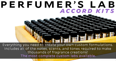 Perfumers Lab Accord Kits. Our Perfumer's lab kit is complete with everything you need to create your own custom formulations. It Includes all of the notes, scents, and tones required to make thousands of personalized fragrance creations! Truly, these perfumer's labs are the most complete custom labs available.