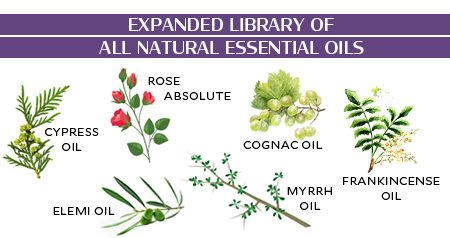 Newly expanded library of pure and natural essential oils! Elemi Oil, Frankincense Oil, Myrrh Oil, Cognac Oil, Rose Absolute, Cypress Oil, and many more!
